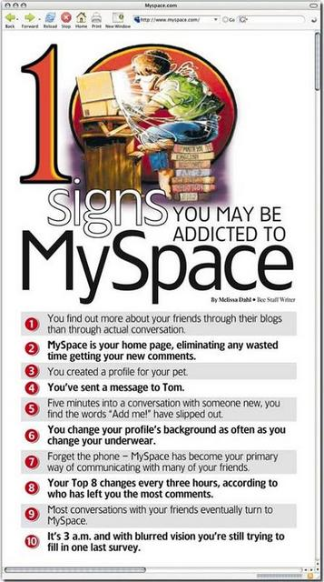 You May Be Addicted To Myspace