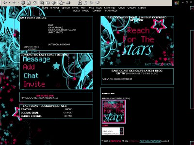 Reach For The Stars Myspace Layout