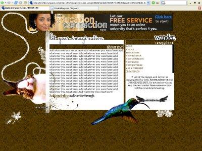 Imagination(DIV) Myspace Layout