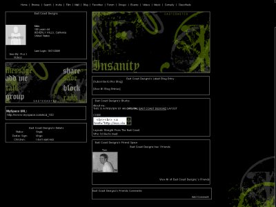 Insanity Myspace Layout