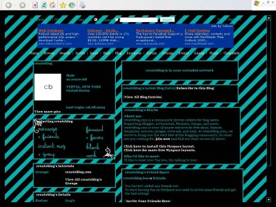 Teal and black stripes Myspace Layout