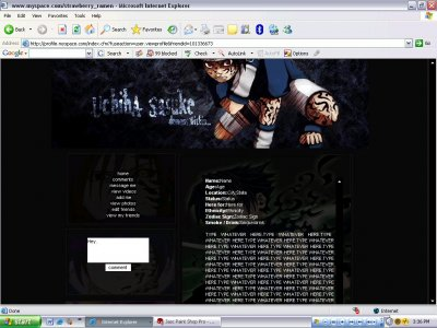 Uchiha Sasuke-Demon Within {D.I.V} Myspace Layout