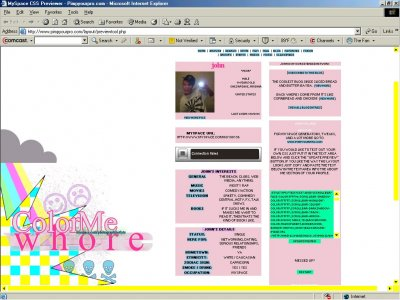 Color Me Whore Myspace Layout