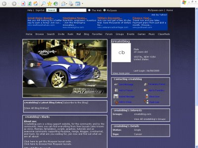 NFS: Most Wanted Version Blue Myspace Layout