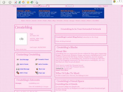 Pink Stars Myspace Layout