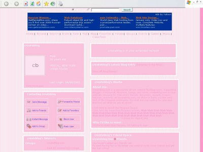 Beatifully Pink Myspace Layout