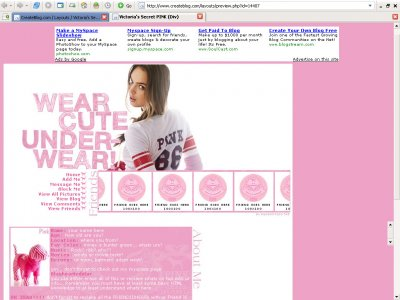 Victoria's Secret PINK (Div) Myspace Layout