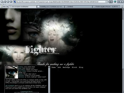Christina Aguilera Fighter (Div) Myspace Layout