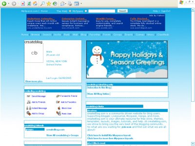 Happy Holidays Myspace Layout