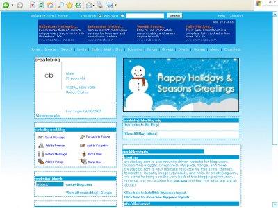 Happy Holidays Myspace Layout