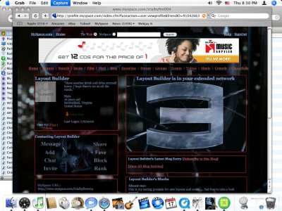 Spiderman 3 Skin Myspace Layout