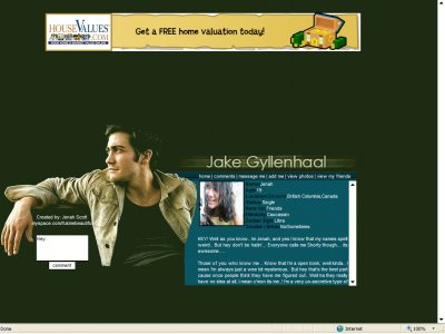 Jake Gyllenhaal Myspace Layout